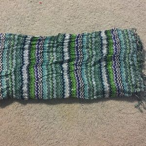 Blue, Green, Silver and Black Patterned Scarf